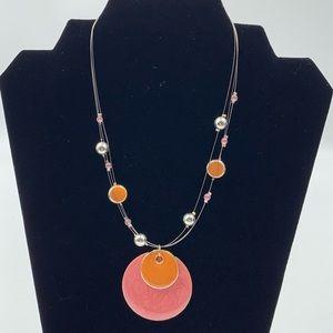 Multi Strand Enamel Pendant Beaded Necklace NY&Co
